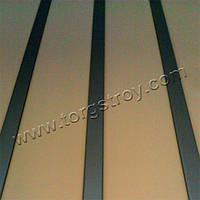 Реечный потолок: бежевая рейка со вставкой металлик, фото 1