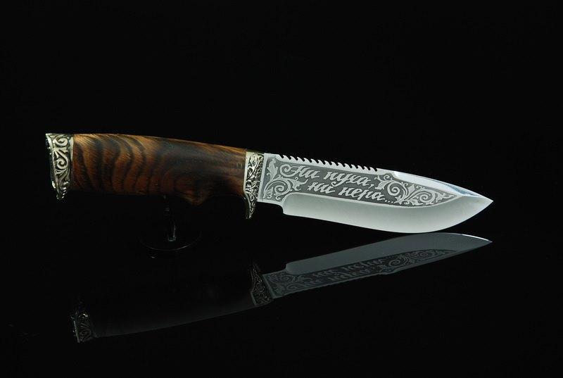Художественное травление на клинке ножа