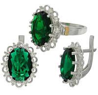 """Серьги и кольцо - серебряный набор с золотыми накладками """"Венец"""" с зеленым камнем"""