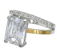 """Серебряное кольцо """"Желание"""" - Колечко с большим прозрачным прямоугольным камнем и золотыми пластинами """"Желание"""