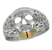 Кольцо серебряное Череп с золотой пластиной - оригинальное украшение из серебра 925 пробы