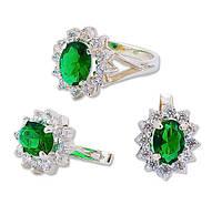 Кольцо и Серьги - серебряный набор женских украшений с зелеными камнями