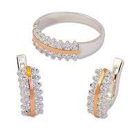 Серебряный набор женских украшений - серьги и кольцо с золотыми накладками