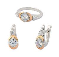 Кольцо и серьги - серебряный набор женских украшений с золотыми накладками