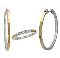 """Серебряный набор с золотыми накладками """"Грация"""" - серьги и кольцо из серебра 925 пробы"""