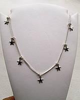 """Серебряное колье """"Звезды"""" - стильное женское нашейное украшение из серебра 925 пробы"""