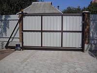 Ворота откатные зашивка профнастилом 1 сторона