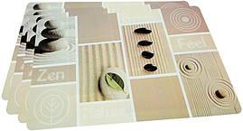 Набір 4 сервірувальних килимка Fissman Zen Feel 43.5х28.5см, пластик