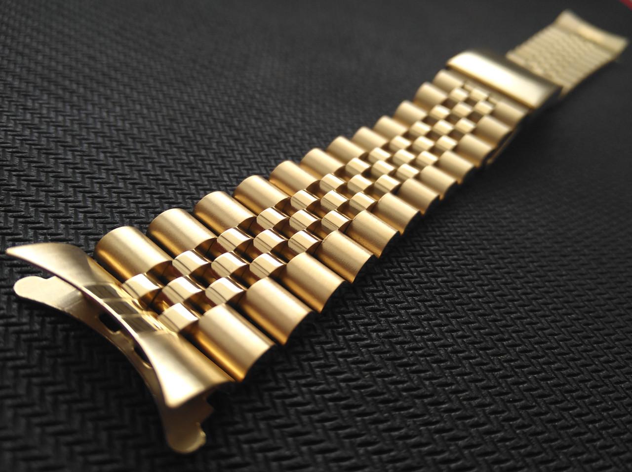 Браслет Jubilee для часов из нержавеющая стали, литой, глянец/мат. Золотистый. Заокругленное окончание. 22 мм
