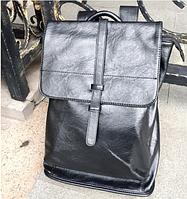 Рюкзак мужской кожаный новинка цвет черный. Классик.