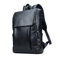 Рюкзак мужской кожаный новинка цвет черный. Вместительный.