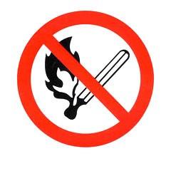 Знак Запрещается пользоваться открытым огнем и курить