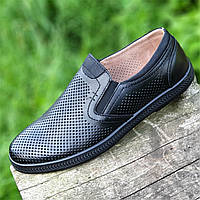 Мужские летние повседневные туфли кожаные в дырочку черные (Код: Р1490)