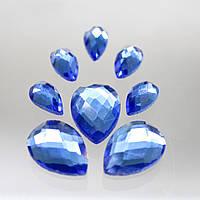 Стразы для инкрустации (стекло).13х18мм. Цвет Lt Sapphire.  Цена за 1шт.