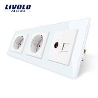 Розетка с заземлением ТВ розетка интернет розетка RJ-45 Livolo цвет белый стеклянная (VL-C7C2EU1C1V-11)