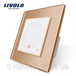 Терморегулятор Livolo для водяних систем опалення колір білий золота рамка (VL-C701TM-11/13)