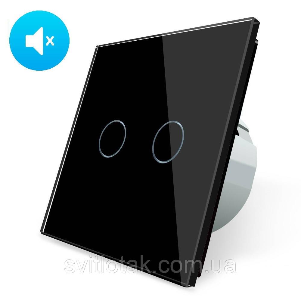 Бесшумный сенсорный выключатель Livolo Silent 2 канала черный стекла (VL-C702Q-12)