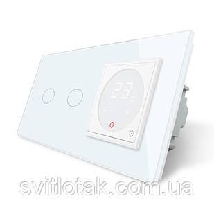 Сенсорний вимикач з Терморегулятором Livolo з датчиком температури підлоги колір білий (VL-C702-C701TM2-11)