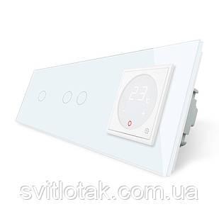 Сенсорний вимикач з Терморегулятором Livolo з датчиком температури підлоги колір білий (VL-C703-C701TM2-11)