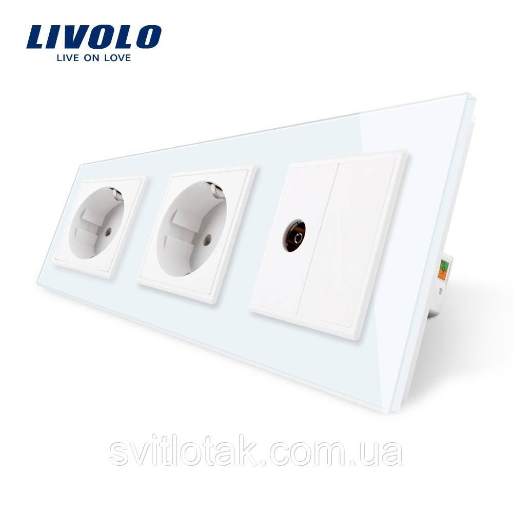 Розетка трехместная комбинированная Силовая ТВ Livolo белый стекло (VL-C7C2EU1VK0-11)