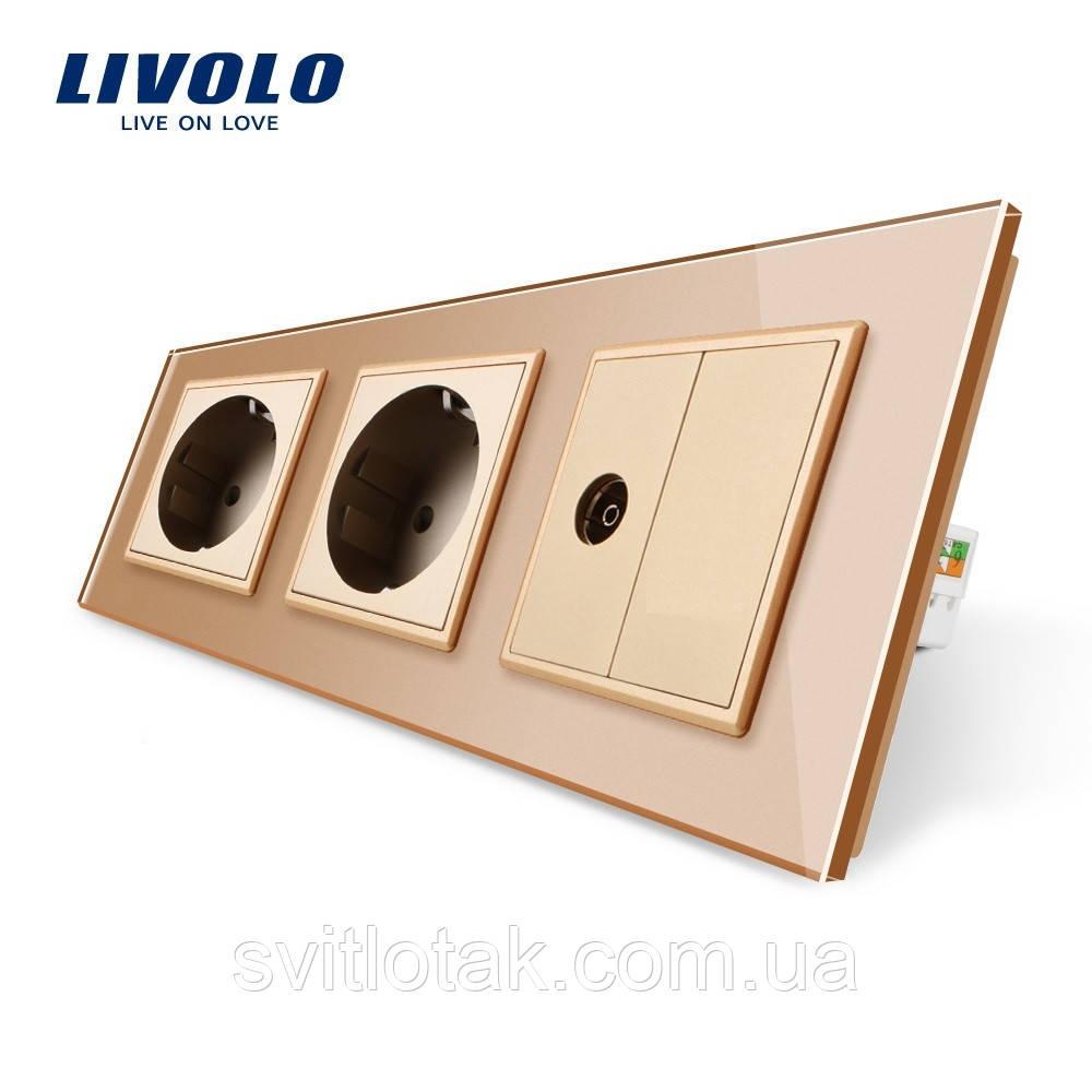 Розетка трехместная комбинированная Силовая ТВ Livolo золото стекло (VL-C7C2EU1VK0-13)