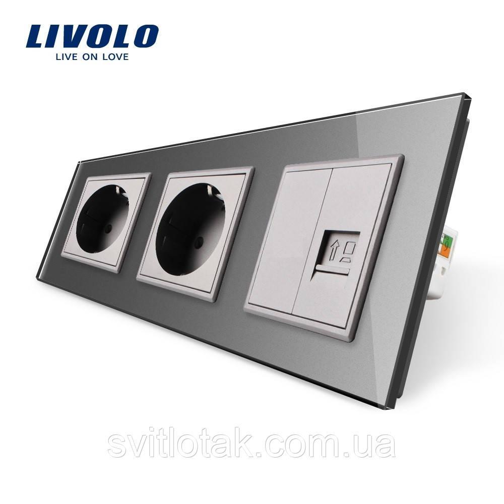Розетка трехместная комбинированная Силовая Интернет Livolo серый стекло (VL-C7C2EU1CK0-15)