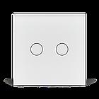 Сенсорный проходной маршевый перекрестный выключатель Livolo на 2 канала белый стекло (VL-C702S-11), фото 2