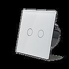 Сенсорный проходной маршевый перекрестный выключатель Livolo на 2 канала белый стекло (VL-C702S-11), фото 3