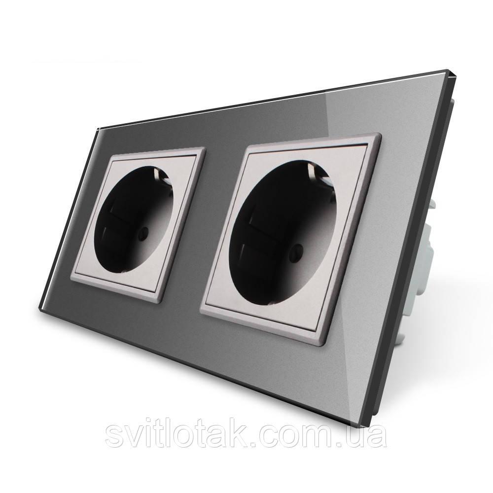 Розетка двойная с заземлением Livolo 16А серый стекло (VL-C7C2EU-15)
