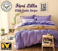 "Простынь 230х260 Коллекции ""Elite Satin Stripe 8х8 mm Fiori Lilla"". Страйп-Сатин (Турция). Хлопок 100%."