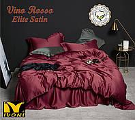 "Простынь на резинке 140х200 Коллекции ""Elite Satin Vino Rosso"". Сатин (Турция). Хлопок 100%."