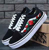 Мужские кеды Vans Old Skool Black/White Roses (ванс олд скул)
