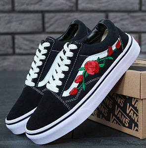 Кеды Vans Old Skool Black White Roses, Ванс Олд Скул черные