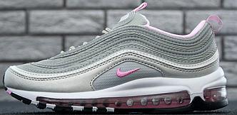Женские кроссовки Nike Air Max 97 Grey/Pink Рефлективные, найк аир макс 97