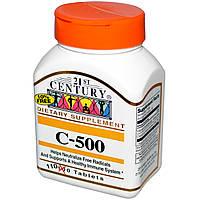 Витамин С (Vitamin C) аскорбиновая кислота с кальцием  лонг 21st Century Health Care 500 мг 110 таблеток