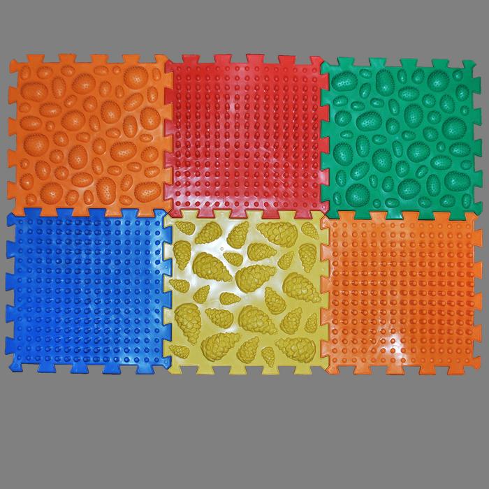 Коврик массажный Пазлы Микс 6 элементов 26 х 26 см Разноцветный (11k3701)