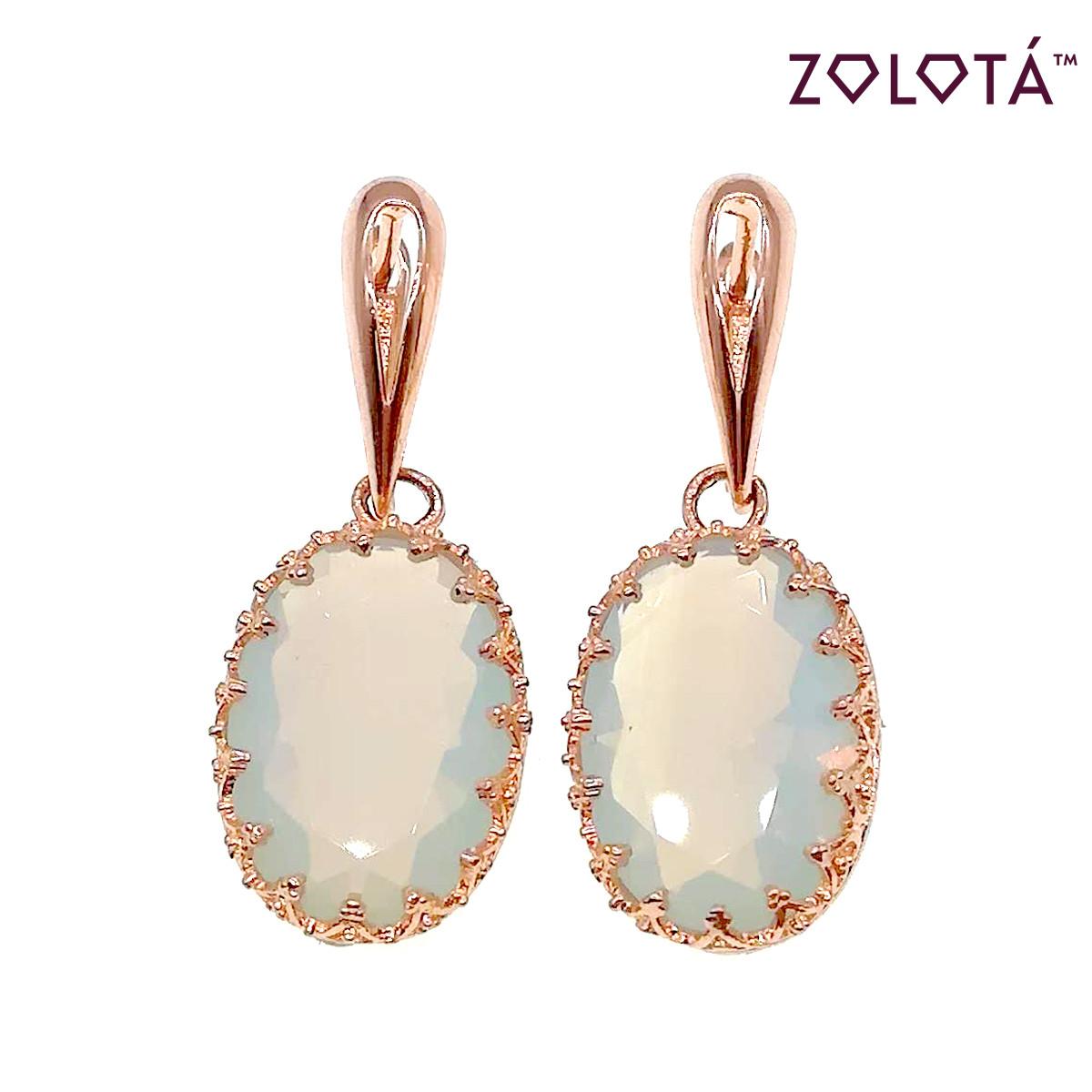 Серьги Zolota с лунными камнями, из медицинского золота, в позолоте, ЗЛ00421 (1)