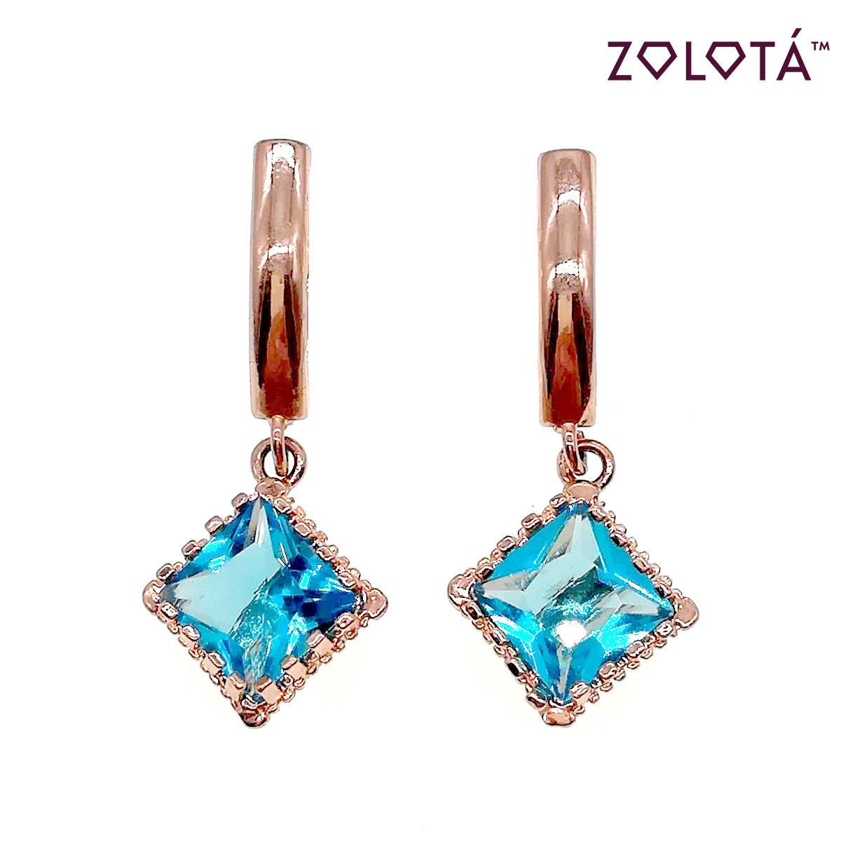 Серьги Zolota с голубыми фианитами (куб. цирконием), из медицинского золота, в позолоте, ЗЛ00431 (1)