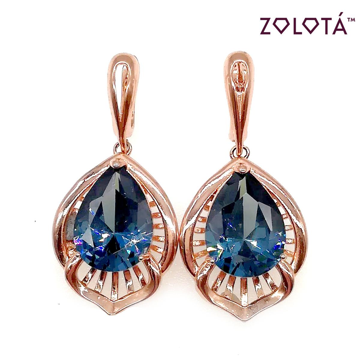 Серьги Zolota с синими фианитами (куб. цирконием), из медицинского золота, в позолоте, ЗЛ00414 (1)