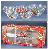 """Набор стеклянных салатников 1+4 шт. """"Монарх"""" (15,5см, 10,5см - 4шт.), декор - вишня"""