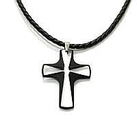 Кулон Swarovski Крест 6860 на кожаном жгуте