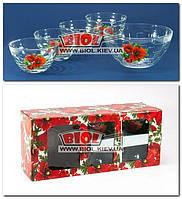 """Набор стеклянных салатников 1+4 шт. """"Монарх"""" (15,5см, 10,5см - 4шт.), декор - мак"""