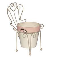 Садовая декорация - кашпо стул металлический с горшком, 23,5*16*15 см, бежевый, керамика (820283)