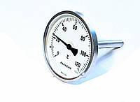 """Термометр D 100 мм/120°С биметаллический трубчатый с погружной гильзой L-110 мм 1/2"""" PAKKENS Турция"""