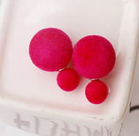 Сережки пуссети, фактура вовняної оксамит, теракотовий колір з рожевим відтінком