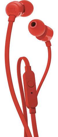 Наушники ведущие вакуумные с микрофоном JBL T110 Красный, фото 2