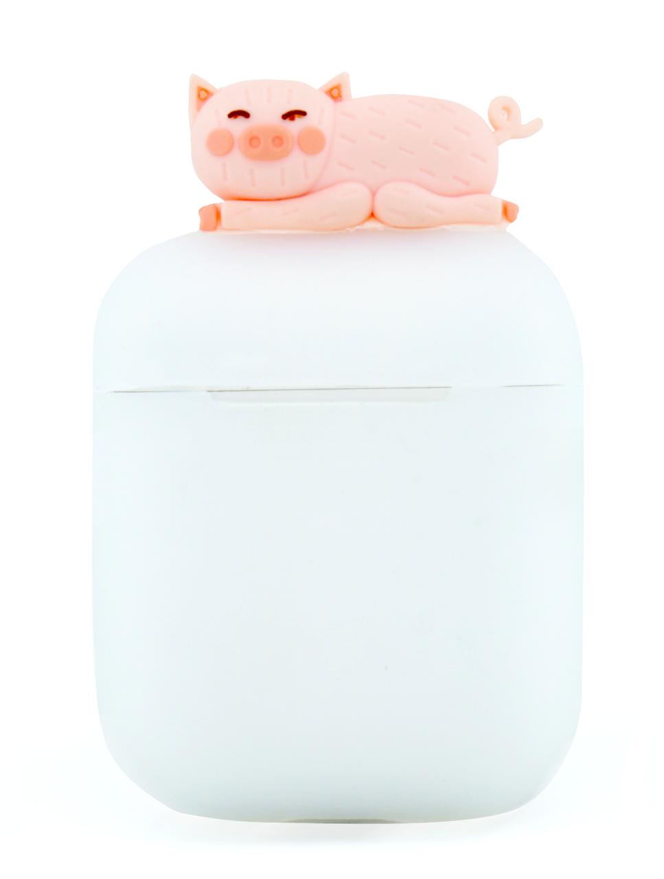 Чохол NZY для навушників Apple AirPods 3D Герої Дісней + карабін Свинка Матовий/Рожевий (123169)