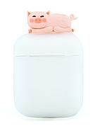 Чехол NZY для наушников Apple AirPods 3D Герои Дисней + карабин Свинка Матовый / Розовый (123169)