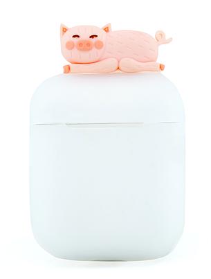 Чохол NZY для навушників Apple AirPods 3D Герої Дісней + карабін Свинка Матовий/Рожевий (123169), фото 2