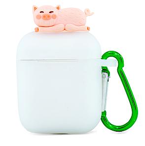 Чехол NZY для наушников Apple AirPods 3D Герои Дисней + карабин Свинка Матовый / Розовый (123169), фото 2